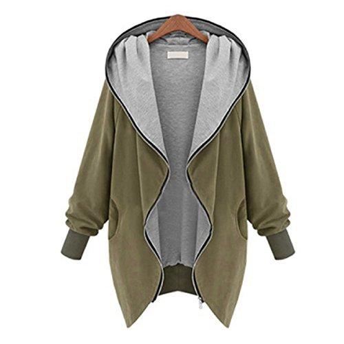 WOCACHI New Frauen ReißverschlussHoodie Kapuzen Jacke Parka Trench Coat Windjacke (XL, Khaki)