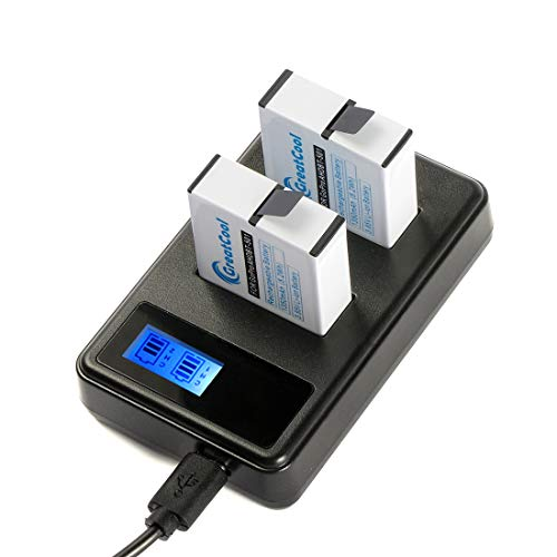 GreatCool Dual Battery LCD Charger +2 x Rechargeable Battery Accessories Kit for GoPro Hero 5 for GoPro Hero 6