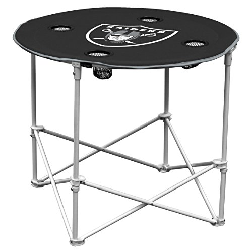 Oakland RaidersCollapsible Round Table with 4 Cup Holders and Carry Bag
