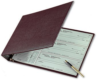 """Abc Durable Burgundy 7-Ring 3 On A Page Business Check Book Binder, 600 Check Capacity, With Clear Vinyl Pouch Bill Keeper – Removable 6-Year Calendar """"Color Burgundy"""""""