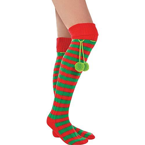 Amscan Elf Boot Socks, Red/Green, Fabric, 24