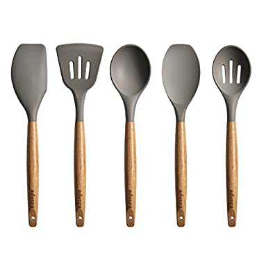 Miusco 5 Piece Silicone Cooking Utensil Set with Natural Acacia Hard Wood Handle