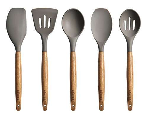 Silicone Kitchen Utensils - Miusco 5 Piece Silicone Cooking Utensil Set with Natural Acacia Hard Wood Handle