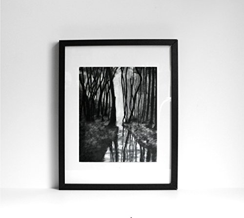 1 - 11x14 Through the Woods - Charcoal Drawing - Original Landscape Art - Country Drawing Home Decor - Black & White Landscape - Fine Art and Illustration - Gift Idea