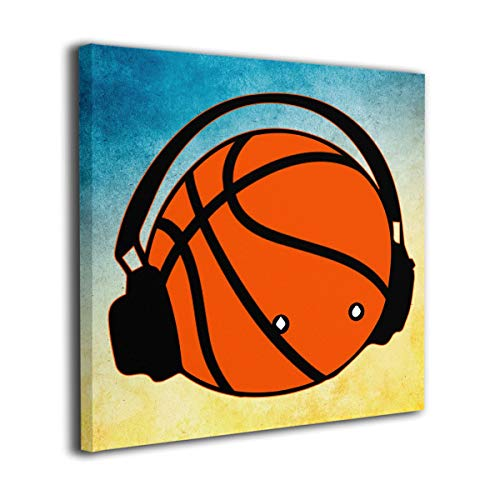 Houstonman A Basketball with Headphones Music Canvas Wall Art Wall Decorations Contemporary Artwork for Living Room Bedroom Bathroom 16
