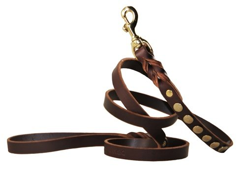 Dean and Tyler Sputnik Dog Leash, Brown 2-Feet by 3/4-Inch Width With Solid Brass Hardware. by Dean & Tyler