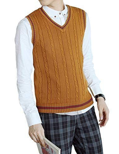 (TOPTIE Men's V-Neck Cotton Cable Knit Sweater Vest Slim Fit Casual Waistcoat-Brown-L)