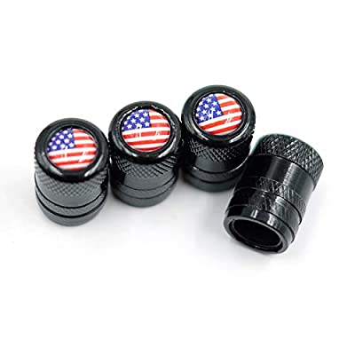 CKAuto American Flag Valve Stem Caps, Aluminum USA Tire Valve Caps, Universal Dust Proof Stem Covers for Cars, Trucks, Bikes, Motorcycles, Bicycles, Corrosion Resistant, 4 Pack(Black): Sports & Outdoors