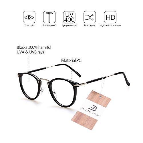 036cfe7468 Mejor BOZEVON Unisexo Clásico Mujer Hombre Moda Retro Redondo Gafas Geek  Nerd Montura para Gafas
