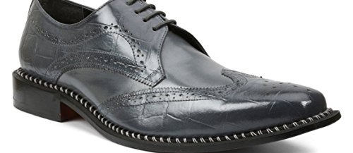 Giorgio Brutini Men's Caster Wingtip Oxfords, Grey Faux Leather, 15 M Brutini Wingtip