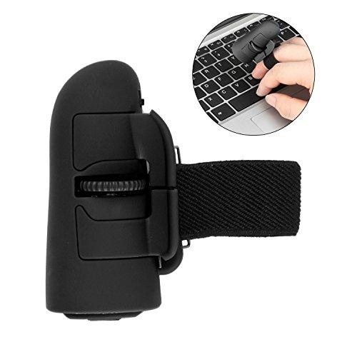 (Wireless Finger Mouse,Emmako 2.4G Bluetooth Mouse Optical Handheld Finger Ring Mouse Mini Save Power Mice for PC Desktop Laptop Windows (Black))
