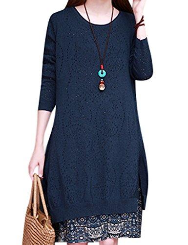 Youlee Damen Runder Kragen Gestrickt Pullover Kleid Style 1 Deep Blue