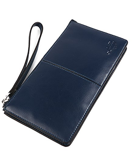 Italian Leather Clutch Wallet (Lulyn Women Luxury Wax Genuine Leather Wallet Wristlet Clutch Multi Card Organizer Large Capacity Purse (Blue))