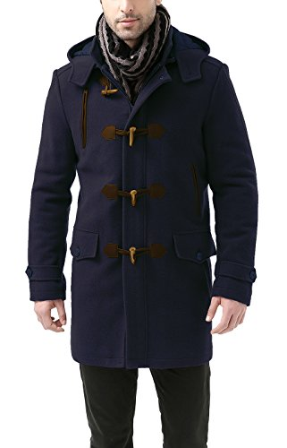 Wool Duffle Coat (BGSD Men's 'Tyson' Wool Blend Leather Trimmed Toggle Coat - Navy L)