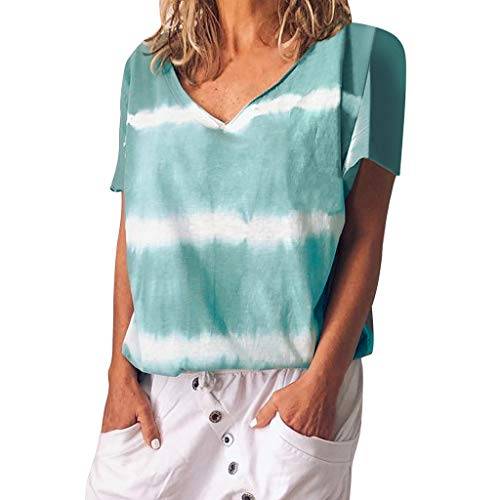 Loosebee Women Summer Off Shoulder Casual V-Neck Patchwork Loose T-Shirts Tops Soft Cotton Blouse Tee Light Blue