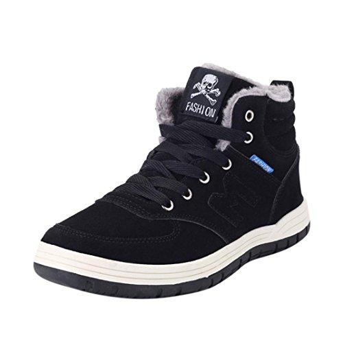 Sky Botas de Invierno Para Hombre Botas de Nieve Para Invierno Alto Para Ayudar a Aumentar La cantidad de Zapatos de Algodón Manta Caliente Antideslizante Botas (47, Negro)
