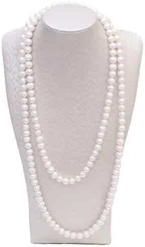 BeautyMood 2 Pcs Pearl Necklace, Stylish Long Pearl Chain for Clothing, Clothing Accessories Bead Accessories (White)