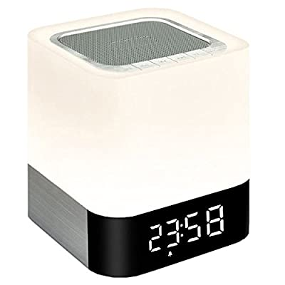 Wireless Bluetooth 4.0 Speaker Portable HIFI Stereo with Led Light Lamp and Alarm Clock, Hands-free Calls,Quality Sound, Touch Sensor, MP3 Player, Support SD TF Card, 3.5mm AUX Jack by TSTAR