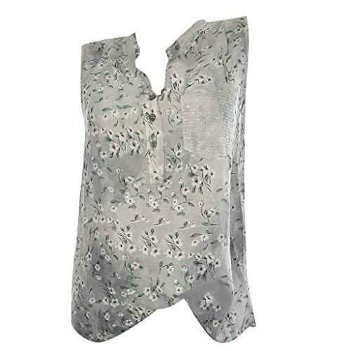 (HIRIRI Women's Summer Sleeveless Buttons Up Neck Casual Tank Tops Basic Flowy Blouse Plus Size Gray)