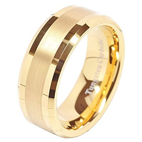 8mm Men's Tungsten Carbide Ring Wedding Band 14k Gold Plated Jewelry Bridal Size 8-16 (10.5) (Man Ring Gold 14k)