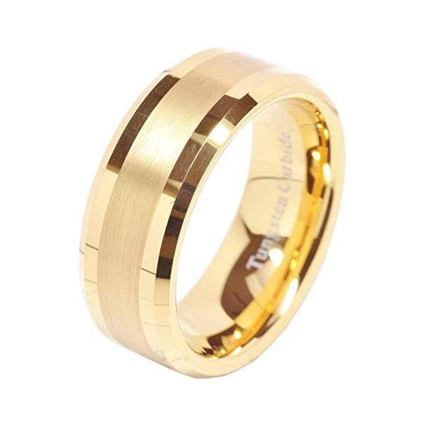 100S JEWELRY 8mm Men's Tungsten Carbide Ring Wedding Band 14k Gold Plated Jewelry Bridal Size 8-16 - 41nS 2BAJESTL - 8mm Men's Tungsten Carbide Ring Wedding Band 14k Gold Plated Jewelry Bridal Size 8-16