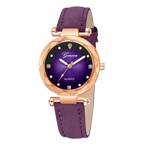Londony✡Women's Watches Leather Rhinestone Inlaid Quartz Jelly Wristwatch