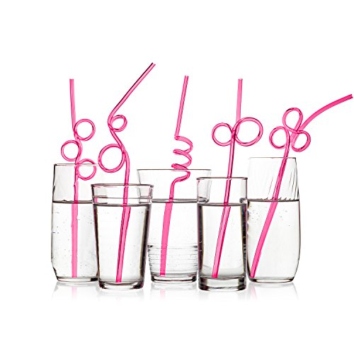 40 Premium Crazy Party Drinking Straws - WIDER - Neon Pink Value Pack - BPA-Free, Recyclable PET (Shape Straw)
