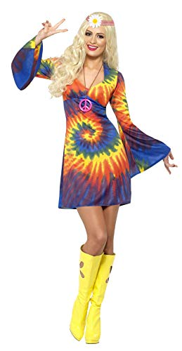 Smiffys Women's 1960's Tie Dye Costume, Dress, 60's Groovy Baby, Serious Fun, Size 10-12, 20741