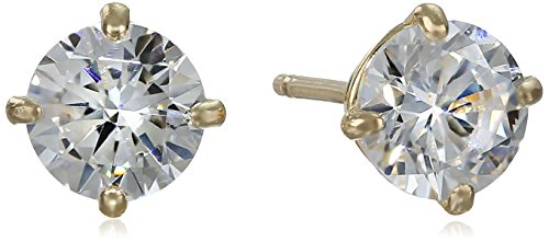 14k Yellow Gold Round-Cut Cubic Zirconia Stud Earrings (1...