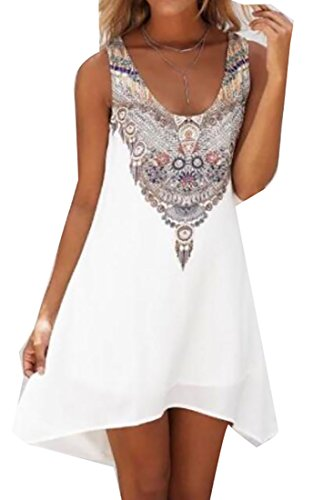 Totem Print Floral Mini Dress (White) - 4