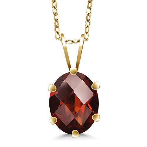 1.40 Ct Oval Checkerboard Shape Red Garnet Yellow Gold Plated Silver Pendant