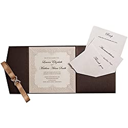 12X WISHMADE Brown Tri-Fold Shimmer Pearl Square Chic Pocket Invitation Kit with Envelope RSVP,Thank You Card for Wedding Engagement Anniversary Birthday Dinner Party Quinceañero AW5502