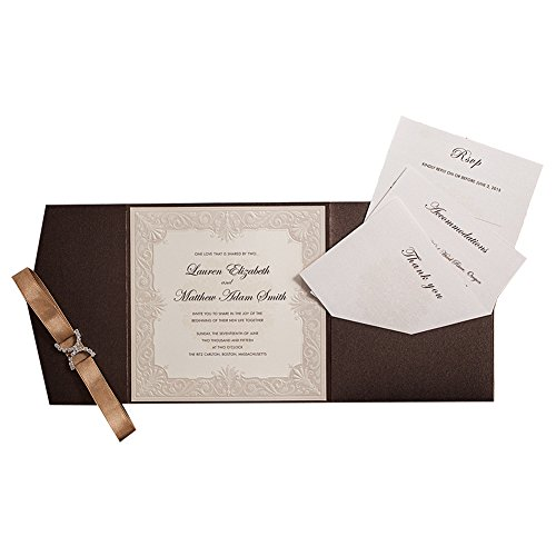 50X WISHMADE Brown Tri-Fold Shimmer Pearl Square Chic Pocket Invitation Kit with Envelope RSVP,Thank You Card for Wedding Engagement Anniversary Birthday Dinner Party Quinceañero AW5502