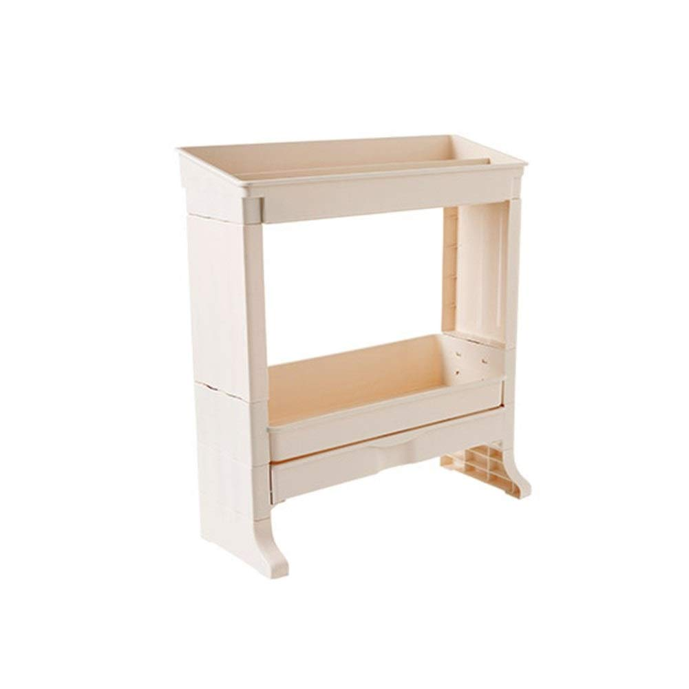Double Storage Rack Plastic Kitchen Condiment With Drawer Card Slot Fixed Drain And Breathable 465017cm (Color : Beige)