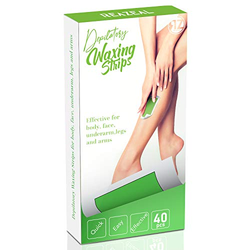 Wax Strips, Hair Removal Wax Kit, Hair Removal Strips for Face Leg Eyebrow Bikini Brazilian Underarm Women and Men, Reazeal Waxing Strips with 40 Count Double Large Size Cold Wax Strips