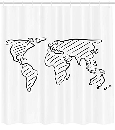 - JUNN Wanderlust Decor Shower Curtain Set, Illustration of an Outline Sketch of The World Map in Drawing Effect Artwork Print, Bathroom Accessories, 69W X 70L Inches, Blackwhite