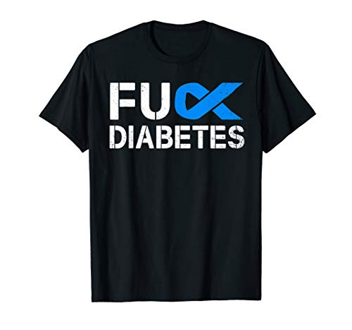 Fuck Diabetes Awareness Ribbon Type 1 One Two 2 T1D T-Shirt -