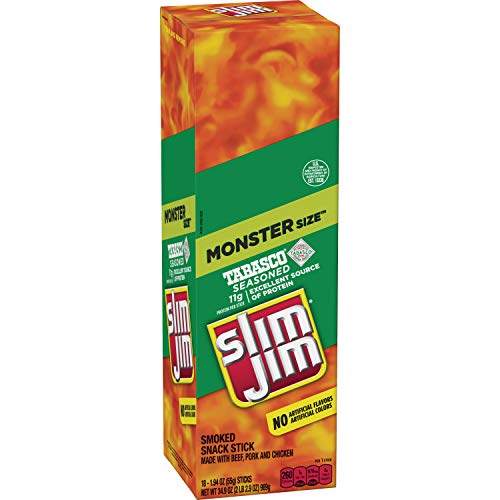 Slim Jim Monster Smoked Meat Stick, Tabasco Flavor, 1.94 Oz. (18 Count)