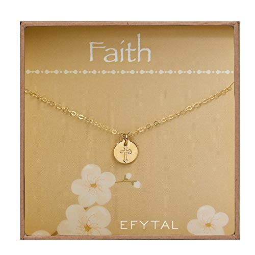 EFYTAL Tiny Gold Filled Faith Cross Necklace, Small Simple Dainty Disc Pendant, First Communion Gift for Girls and Women