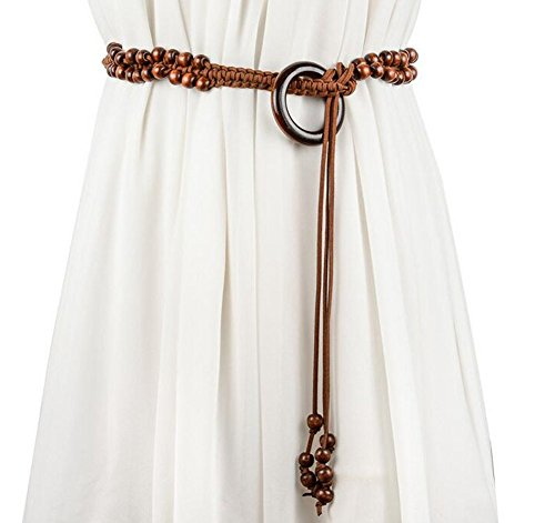 Women Bohemian Chain Wood Waist Belt With Dress and Sweater Knotted - Fashion Belt