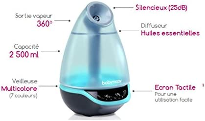 Babymoov Hygro Plus Ultrasonic Cool Mist Humidifier with Programmable Humidity Control, Timer, Night Light and Essential Oil Diffuser (UK Plug)