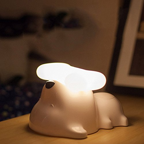 Puppy Night Light (discoGoods Portable Puppy Dog Shaped LED Baby Night Light Nursery Lamp USB Rechargeable Adjustable Brightness with Touch Control and Auto shut off for Bedside,Kids Room Bedroom)