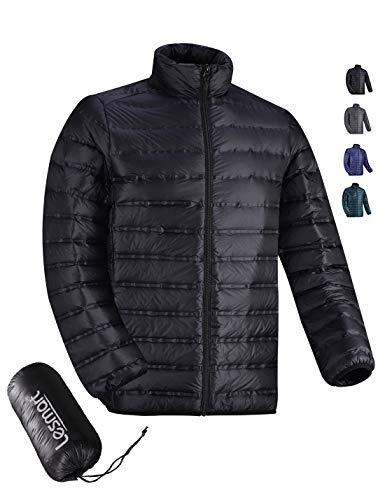 Men's Down Jacket Lightweight Packable 700 Fill Down Coat Weatherproof Slim Size XL Black ()