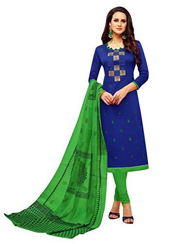 Ladyline Cotton Silk Embroidered Salwar Kameez Ready to Wear Indian Pakistani Dress Salwar Suit (Size_36/ Royal Blue) Blue Cotton Silk Kameez