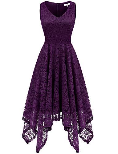 Dressystar 0036 Vintage Lace V-Neck Asymmetrical Handkerchief Hem Cocktail Formal Swing Dress XS Grape
