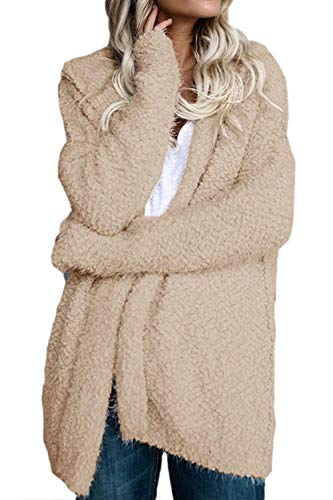 S Décontracté Rose à Cardigan Femmes d'hiver Zhrui Couleur Chaud Taille capuche Shaggy Fausse Sweat Fourrure Manteaux Kaki Zw4qnxOT