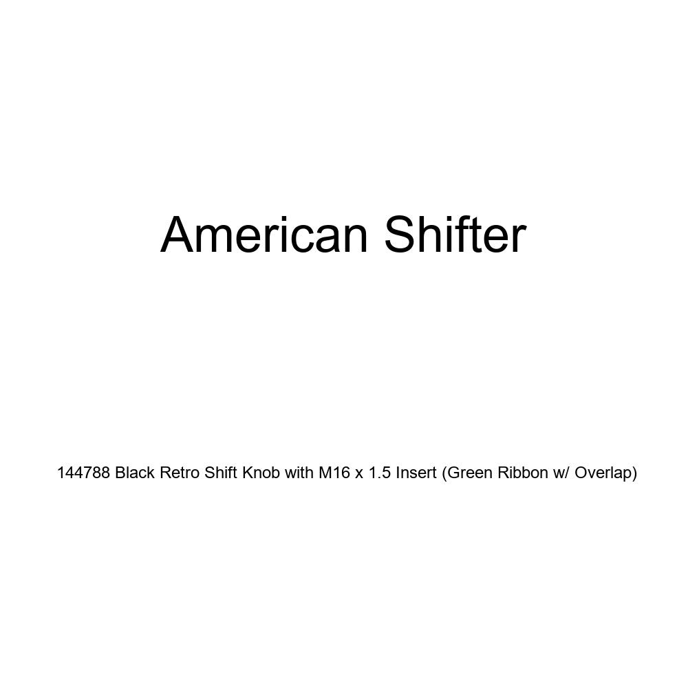 American Shifter 144788 Black Retro Shift Knob with M16 x 1.5 Insert Green Ribbon w//Overlap