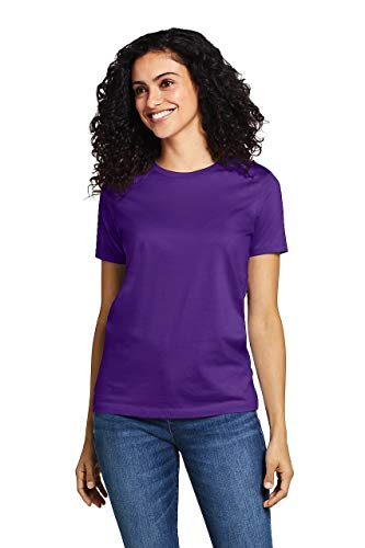 Lands' End Women's Petite Supima Cotton Short Sleeve T-Shirt - Relaxed Crewneck, S, Purple Jewel