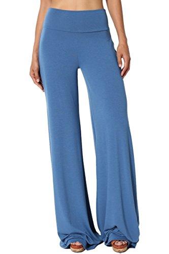 TheMogan Womens 30~33.5 Comfy Soft High Waist Wide Flare Leg Palazzo Lounge Pants