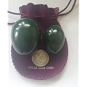 Nephrite Jade Eggs 2 pcs Set for Training Pelvic Floor Muscles to Gain Bladder Control and Incontinence Improvement, Drilled, with Unwaxed Strings and Instructions, Large & Medium 2 Sizes